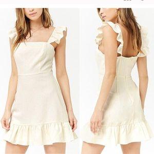 Cream Ivory Ruffle mini Dress, Size Small